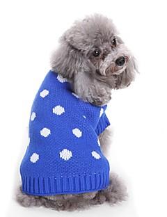 billiga Hundkläder-Hund Tröjor Hundkläder Prickig & Rutig / Färgat garn / Figur Blå / Rosa Terylen Kostym För husdjur Unisex Prickig & Rutig / Söt Stil