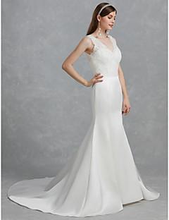 billiga Brudklänningar-Trumpet / sjöjungfru V-hals Hovsläp Spets / Satäng Bröllopsklänningar tillverkade med Spets av LAN TING BRIDE®
