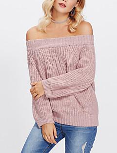 tanie Swetry damskie-Damskie Moda miejska Pulower Solidne kolory