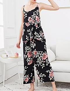 baratos Roupão & Camisola-Mulheres Decote em V Profundo Conjunto Pijamas Floral