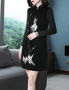 abordables Colecciones de Diseño-Mujer Sofisticado / Elegante Línea A / Pequeño Negro Vestido - Bordado, Floral Sobre la rodilla