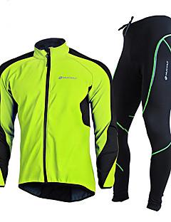 billige Sett med sykkeltrøyer og shorts/bukser-Sykkeljersey med tights - Rød / Grønn / Blå Sykkel Vindtett, Vinter Ensfarget