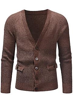 tanie Męskie swetry i swetry rozpinane-długi kardigan z długimi rękawami - jednolity kolorowy, głęboki v