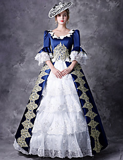 Victorian Duchess Rococo Baroque Victorian 18th Century Square Neck Costume  Women s Dress Outfits Party Costume Masquerade Blue Vintage Cosplay Party  Prom ... 8130e4ec340f