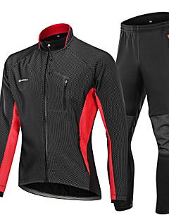 billige Sett med sykkeltrøyer og shorts/bukser-Nuckily Sykkeljakke med bukser - Svart / Rød / Svart / Grønn / Svart / Blå Sykkel Vindtett, Vinter, Spandex Lapper