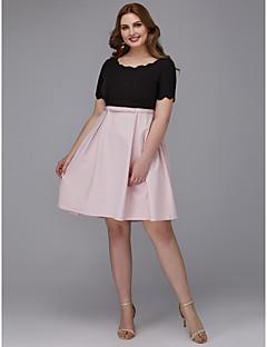 billige Mønstrede og ensfargede kjoler-A-linje Besmykket Knelang Elastisk sateng Kjole med Belte / bånd av TS Couture® / Cocktailfest / Skoleball