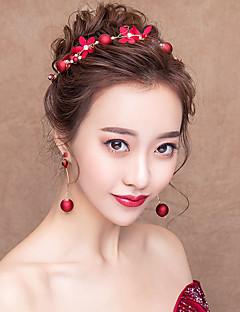 billiga Lolitaaccessoarer-Dekorationer Ringörhänge Brud Smyckeset Klassisk Traditionell Dam Röd Blommig Mosaik Vintage Huvudbonad Örhänge Annat material Legering Kostymer