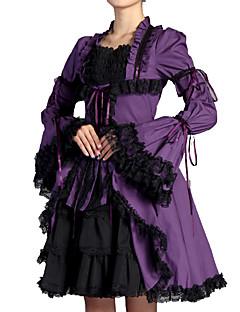 billiga Lolitamode-Victoriansk Söt Lolita Casual Lolita Klänning Artistisk / Retro Gothic Style Veckad Spets Dam Klänningar Cosplay Purpur Flamma Ärm Långärmad Knälång Kostymer