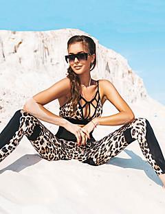 billiga Träning-, jogging- och yogakläder-Dam Utklippt Yoga Suit - Svart sporter Leopard Cykling Tights / Magtröja Yoga, Fitness, Gym Sportkläder Andningsfunktion, Kompression, Butt Lift Hög Elasisitet Smal / Vinter