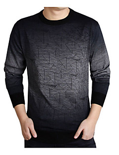 baratos Suéteres & Cardigans Masculinos-Homens Moda de Rua Pulôver - Sólido / Geométrica