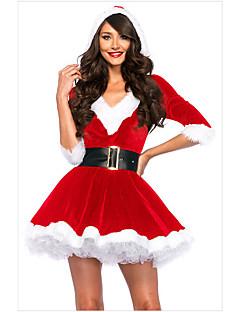 billige julen Kostymer-Cosplay Kostumer Santa Clothe Dame Tenåring Voksne Jul Jul Nytt År Festival / høytid Spandex Terylene Drakter Rød Ferie
