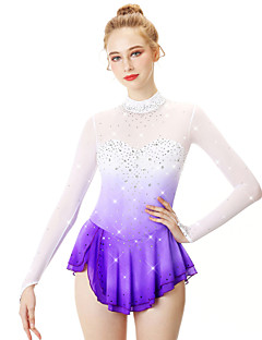 cheap Ice Skating Dresses , Pants & Jackets-Figure Skating Dress Women's Girls' Ice Skating Dress Violet Halo Dyeing Spandex Stretch Yarn Lace High Elasticity Professional Competition Skating Wear Handmade Fashion Long Sleeve Ice Skating