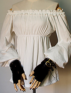 billiga Lolitaklänningar-Söt Lolita Söt Lolita Prinsess Lolita Dam Blus / Skjorta Cosplay Vit Flamma Ärm Långärmad Över Knät Kostymer