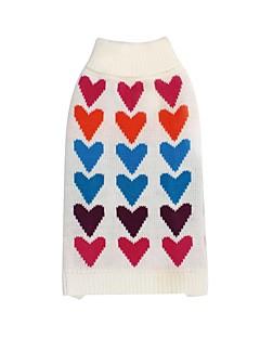 billiga Hundkläder-Hund / Katt Tröjor Hundkläder Tryck / Hjärta Vit Textil Kostym För husdjur Herr / Dam Ledigt / vardag / Håller värmen