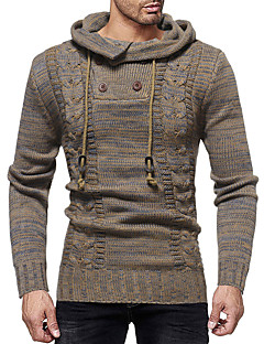 baratos Suéteres & Cardigans Masculinos-Homens Básico / Moda de Rua Pulôver - Sólido / Poá