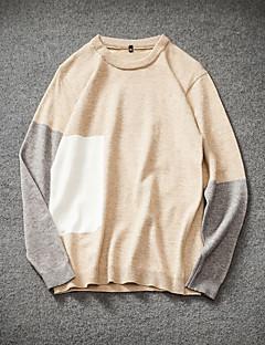 baratos Suéteres & Cardigans Masculinos-pullover de manga longa masculina - bloco de cor