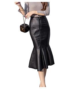 halpa Naisten alaosat-naisten faux nahka midi bodycon hameet - kiinteä värillinen