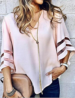 cheap Top Sellers-Women's Blouse - Solid Colored V Neck / Flare Sleeve