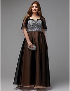 billige Mønstrede og ensfargede kjoler-A-linje Kjære Gulvlang Blonder / Tyll Formell kveld Kjole med Blonder av TS Couture®