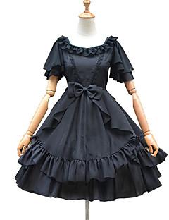 billiga Lolitaklänningar-Söt Lolita Casual Lolita Klänning Söt Lolita Elegant Organza Dam Klänningar Cosplay Vit / Svart Kronblad Kortärmad Knälång Kostymer