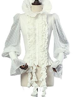 billiga Lolitamode-Söt Lolita Punk Lolita Elegant Victoriansk Dam Blus / Skjorta Cosplay Vit Flamma Ärm Långärmad Halloweenkostymer