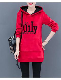 baratos Moletons com Capuz e Sem Capuz Femininos-o hoodie longo da luva das mulheres que sai - letra encapuçado