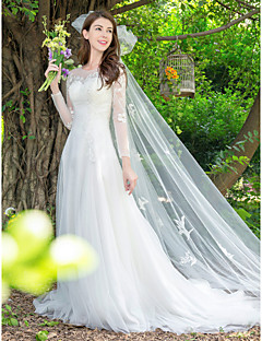 billiga Brudklänningar-Prinsessa Prydd med juveler Svepsläp Spets / Tyll Bröllopsklänningar tillverkade med Applikationsbroderi av LAN TING Express