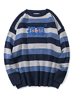 baratos Suéteres & Cardigans Masculinos-Homens Diário Moda de Rua Listrado Manga Longa Padrão Pulôver Azul / Verde / Amarelo M / L / XL
