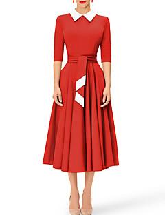 billige Vintage-dronning-Dame Vintage Skede Kjole - Ensfarvet Midi