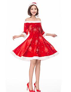 billige julen Kostymer-Cosplay Kostumer Santa Clothe Dame Tenåring Voksne Jul Jul Nytt År Festival / høytid Terylene Plysj Drakter Rød Ferie