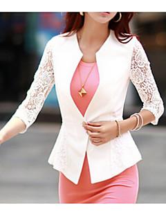 Χαμηλού Κόστους Γυναικεία σπορ σακάκια και μπουφάν-Γυναικεία Καθημερινά Κανονικό Μπλέιζερ, Μονόχρωμο Κολάρο Πουκαμίσου Μακρυμάνικο Νάιλον Λευκό M / L / XL