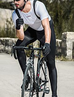 billige Sykkelklær-SANTIC Herre Tights med seler til sykling Sykkel Tights Med Seler Vindtett, Pustende, Hold Varm Ensfarget Vinter Svart Sykkelklær / Elastisk