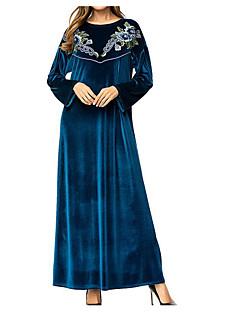 billige Vintage-dronning-Dame Vintage Skede Kjole - Blomstret Maxi