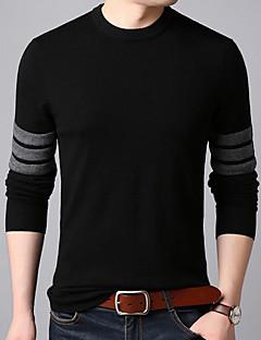 tanie Męskie swetry i swetry rozpinane-Męskie Codzienny Solidne kolory Długi rękaw Regularny Pulower Czarny / Szary XL / XXL / XXXL