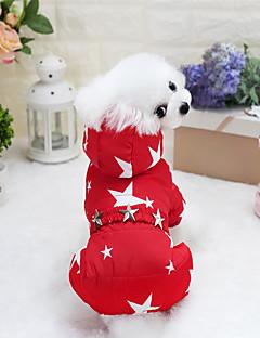 billiga Hundkläder-Hund / Katt Kappor Hundkläder Stjärnor Mörkblå / Fuchsia / Röd Cotton Kostym För husdjur Unisex Håller värmen / Trendig