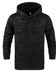 baratos Abrigos e Moletons Masculinos-jaqueta de manga curta de algodão manga longa masculina - camuflagem / colar de camisa colorida sólida