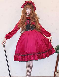billiga Lolitamode-Söt Lolita Casual Lolita Klänning Gothic Style Söt Lolita Dam Klänningar Cosplay Röd Juliet Långärmad Knälång Kostymer