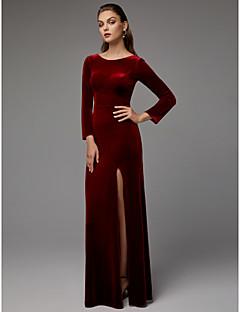 Χαμηλού Κόστους Βραδινά Φορέματα-Ίσια Γραμμή Με Κόσμημα Μακρύ Βελούδο Επίσημο Βραδινό Φόρεμα με Με Άνοιγμα Μπροστά με TS Couture®