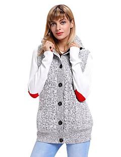 baratos Suéteres de Mulher-Mulheres Diário Moda de Rua Sólido Sem Manga Padrão Carregam, Com Capuz Outono / Inverno Preto / Cinzento L / XL / XXL / Cintura Alta