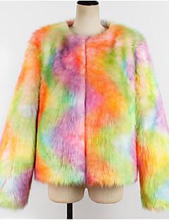 Χαμηλού Κόστους Γυναικείες Γούνες & Δέρμα-Γυναικεία Γούνινο παλτό Κομψό στυλ street - Μονόχρωμο