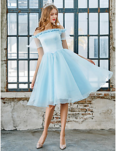 tanie Sukienki na zakończenie szkoły-Księżniczka Z odsłoniętymi ramionami Do kolan Organza / Satyna Sukienka z przez LAN TING Express / Iluzja