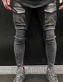 billige Herrebukser og -shorts-Herre Grunnleggende Bomull Jeans Bukser - Ensfarget Grå / Vår / Høst