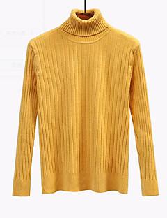 tanie Swetry damskie-Damskie Codzienny Solidne kolory Długi rękaw Regularny Pulower Czarny / Szary / Żółty Jeden rozmiar