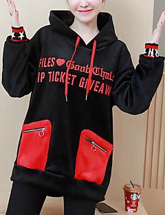 baratos Moletons com Capuz e Sem Capuz Femininos-hoodie da luva longa das mulheres que sai - bloco da letra / cor encapuçado