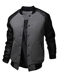 cheap Clearance-US-Men's Daily / Weekend Active Fall / Winter Regular Bomber Jacket, Patchwork Long Sleeve Cotton / Polyester Black / Dark Gray / Light gray L / XL / XXL