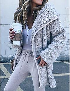 저렴한 여성 아웃웨어-여성용 일상 스트리트 쉬크 가을 보통 트렌치 코트, 솔리드 셔츠 카라 긴 소매 폴리에스테르 베이지 / 그레이 / 밝은 브라운 L / XL / XXL