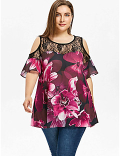 billige Plusstørrelser-Dame - Geometrisk Basale Skjorte