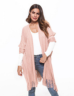 tanie Swetry damskie-Damskie Codzienny Moda miejska Solidne kolory Długi rękaw Długie Sweter rozpinany Rumiany róż / Beżowy / Fioletowy M / L / XL