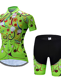 Women s Short Sleeve Cycling Jersey with Shorts - Green Floral   Botanical Bike  Clothing Suit Breathable Quick Dry Sports Polyester Floral   Botanical ... 9178f02ea