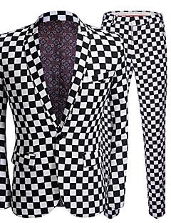 cheap Suit-Men's Party Business Plus Size Regular Suits, Check Peter Pan Collar Long Sleeve Polyester Black XXXL / 4XL / XXXXXL / Business Casual